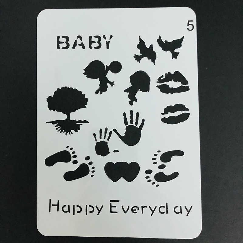 T-shirt için şablon çocuklar dudak el ve ayak baskılar bebek büyüme albümü boyama zemin duvar karosu kumaş ahşap taş çizim şablonlar