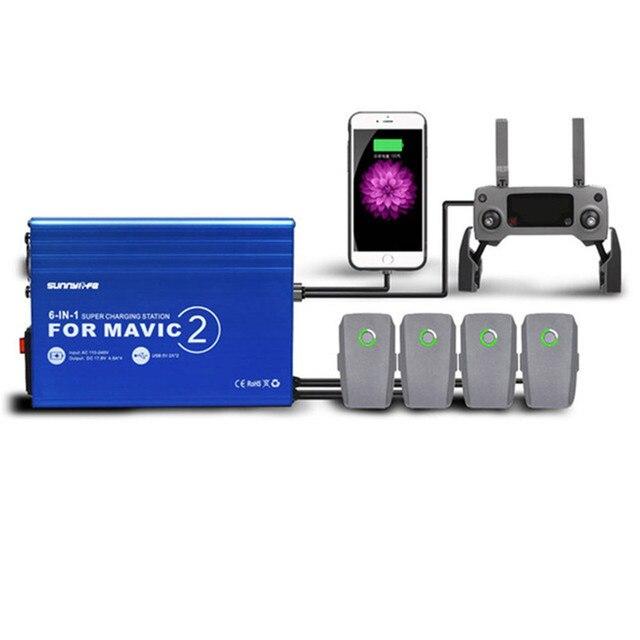 Moyeu de chargeur 6 en 1 pour chargeur rapide de batterie Mavic 2 DJI Mavic 2 accessoires de chargeur de Drone de moyeu de charge parallèle Pro/Zoom