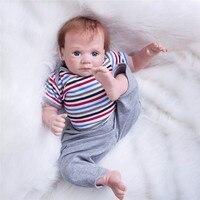 50cm Silicone Reborn Baby Doll Toys Lifelike Soft Cloth Body Newborn Babies Bebe Reborn doll Birthday Gift Girls Brinquedos