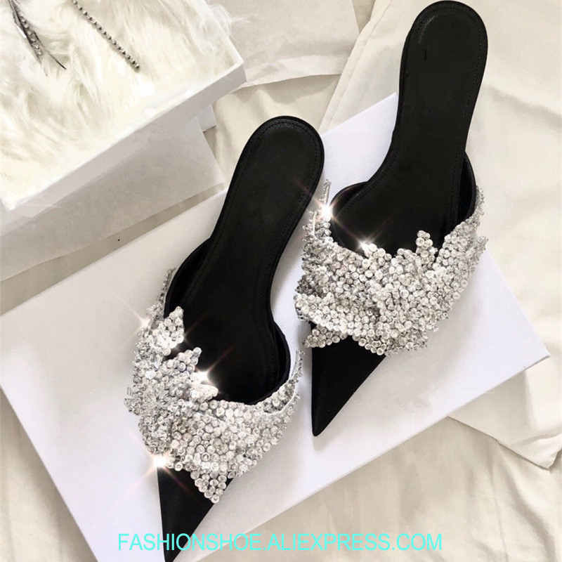 D'été Show Satin Show Bling Bout Nouveau Diapositives Mules Pour Chaussons Paillettes Sandales Mujer as Slash Zapatos De Femmes 2018 Pointu As Embelli gOx14Hq4n
