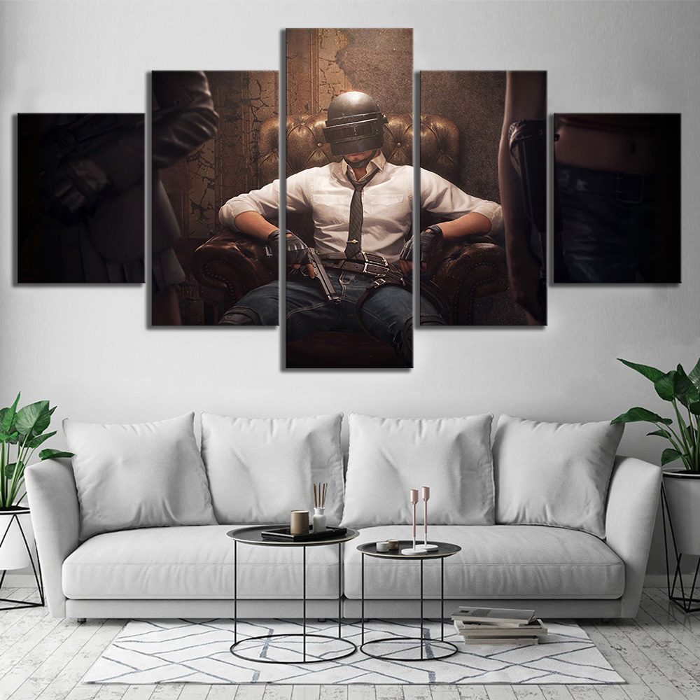 Us 6 12 49 Off 5 Piece Pubg Playerunknowns Battlegrounds Game Poster Artwork Wall Painting On Canvas For Home Decor In Painting Calligraphy From