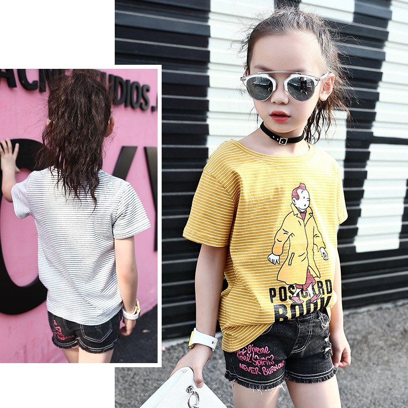 Children 39 s clothing cartoon casual pinstripes girls T shirt 2019 summer new cute pattern personality round neck short clothes in Tees from Mother amp Kids