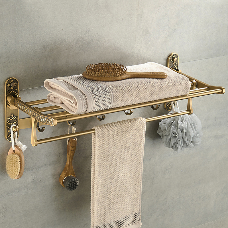 Nail Free Foldable Antique Brass Bath Towel Rack Active Bathroom Towel Holder Double Towel Shelf With Hooks Bathroom AccessoriesNail Free Foldable Antique Brass Bath Towel Rack Active Bathroom Towel Holder Double Towel Shelf With Hooks Bathroom Accessories