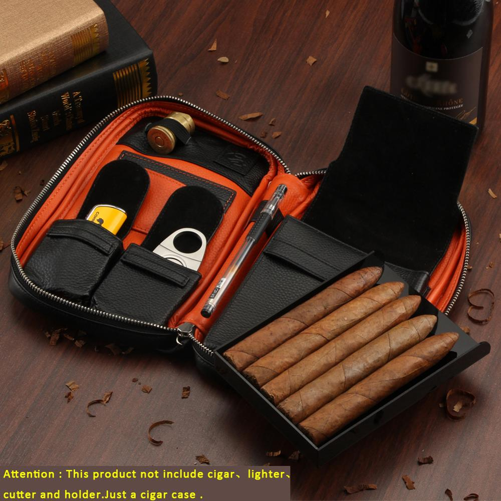 GALINER Genuine Leather Cigar Humidor Case For Cohiba Cigars Lighter Cutter Ashtray Portable Cigar Travel Bag Gift Box