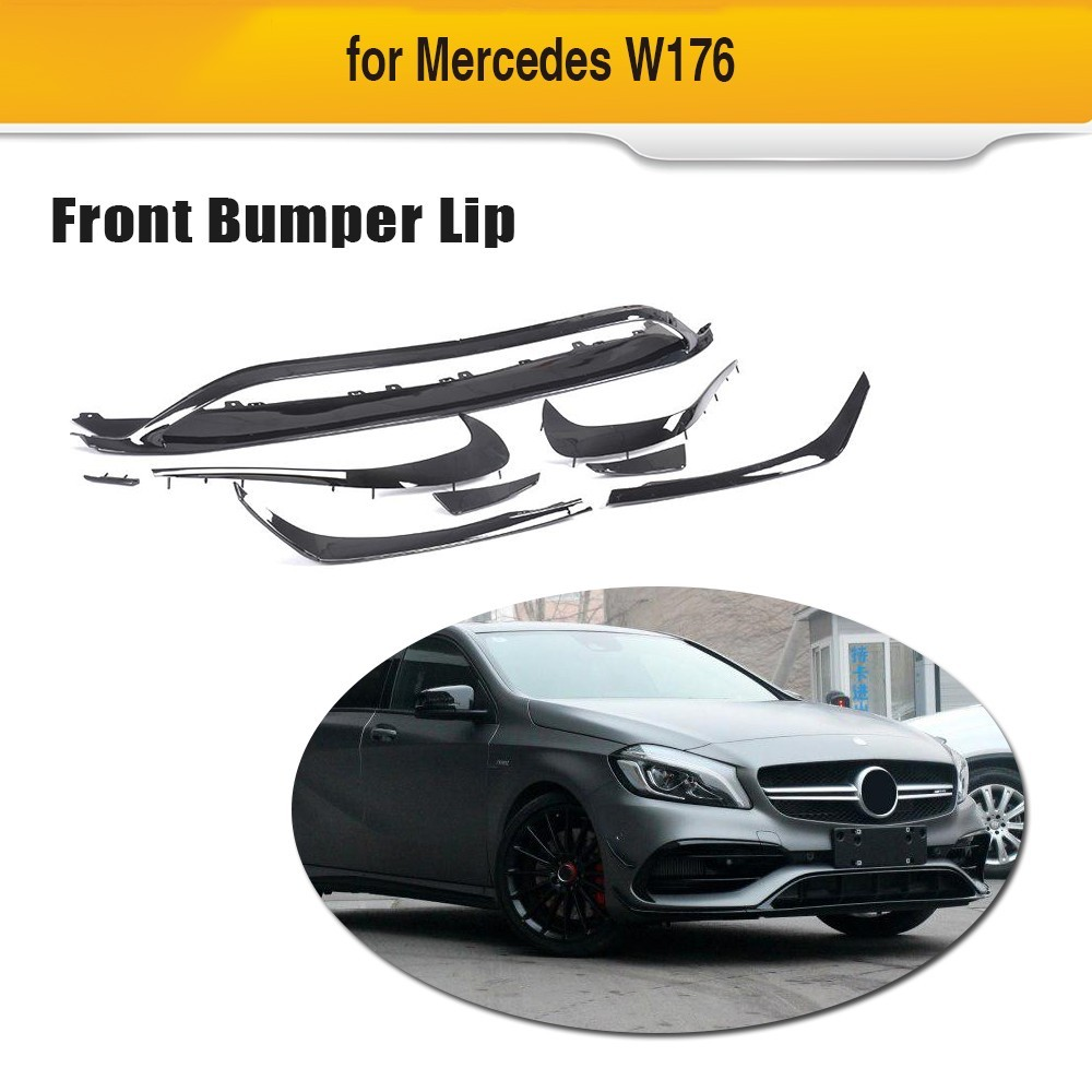ABS Front Bumper Lip Canards Vents 8 pieces/set For <font><b>Mercedes</b></font> <font><b>Benz</b></font> <font><b>W176</b></font> <font><b>A200</b></font> A250 A45 AMG 5 Door Hatchback 2016 UP image