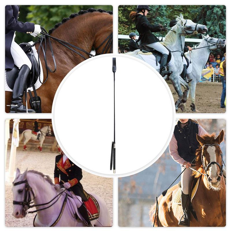 Leather Horsewhips Equestrian Horseback Riding Whips Lash Supplies 51CM/65CM Portable Lightweight More Durable
