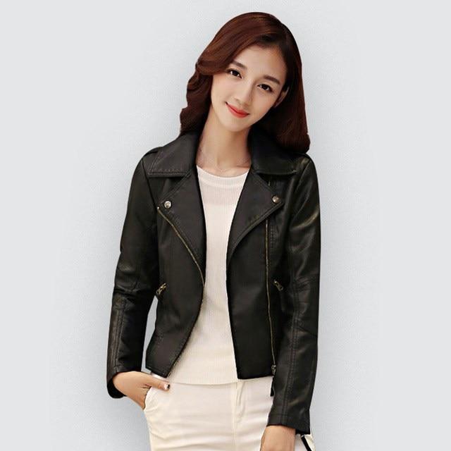 Pu   Leather   Jacket Women Fashion Black Motorcycle Coat Short Faux   Leather   Biker Jacket Female Soft Jackets Outwear