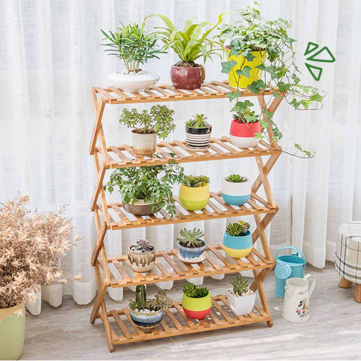 2/3/4/5 Tiers Foldable Flower Pot Plant Stand Planter Flowers Pot Tray Display Rack Shelf Organizer Garden Balcony Decoration