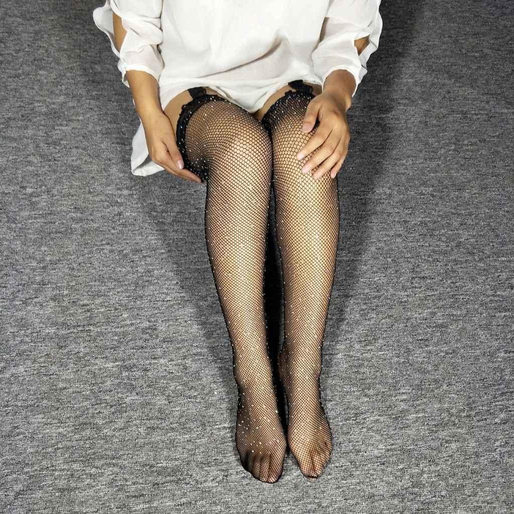 Fishnet Bling ถุงน่องผู้หญิงลูกไม้ตาข่าย Elastic สีดำเซ็กซี่กว่าถุงเท้าเข่าต้นขาสูงสุภาพสตรีถุงเท้ายาวร้อน