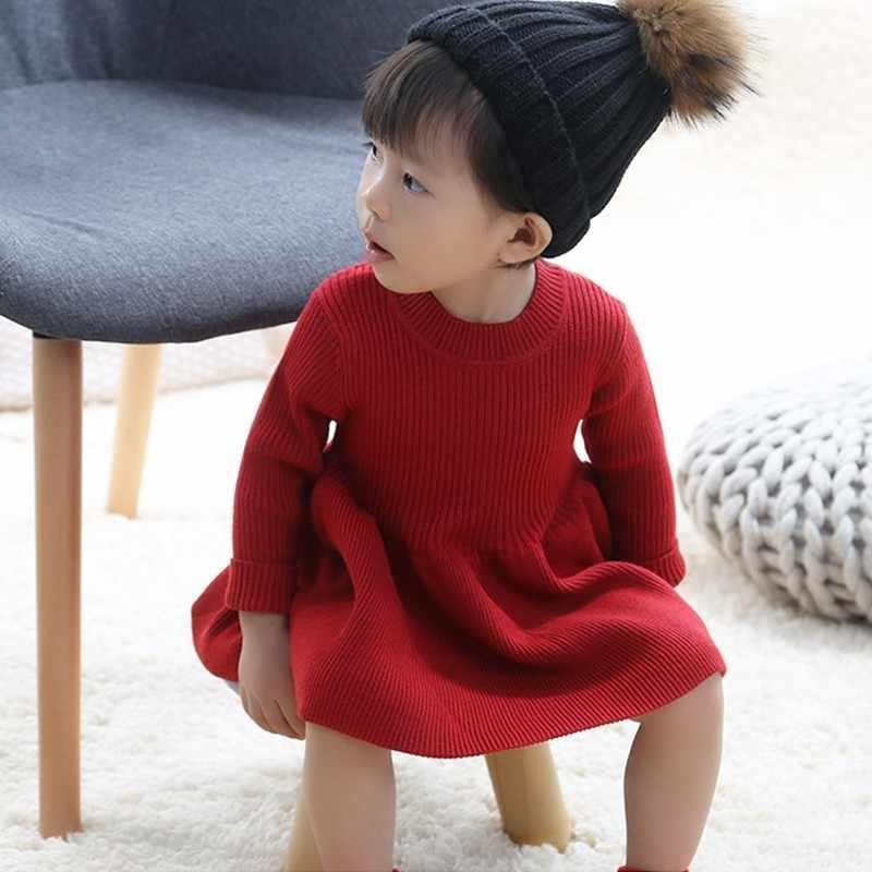 Suéter De Lana Tejido Para Niños Vestido De Niña Para Fiesta Niño Suéter Niña Invierno Otoño Primavera Rojo Rosa Brwin Gris Vestidos