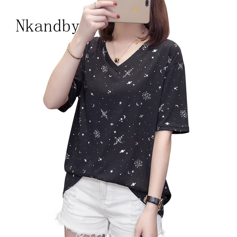 Nkandby Plus Size Starry Sky T Shirt Women Summer Clothes Vogue V Neck Short Sleeve Female T-shirt Casual Loose Big Tshirt Tops