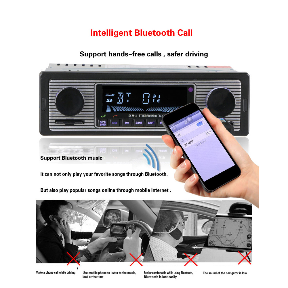 Classic Bluetooth Audio LCD Display FM Music MP3 Player Stereo font b Radio b font USB