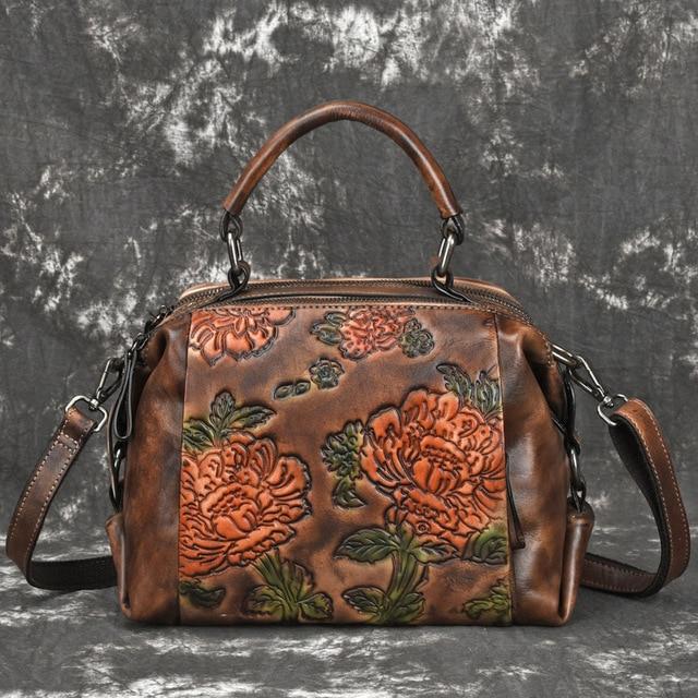 High Quality Genuine Embossed Leather Women Messenger Shoulder Bag Tote Handbag Vintage Natural Skin Cross Body Top Handle Bags