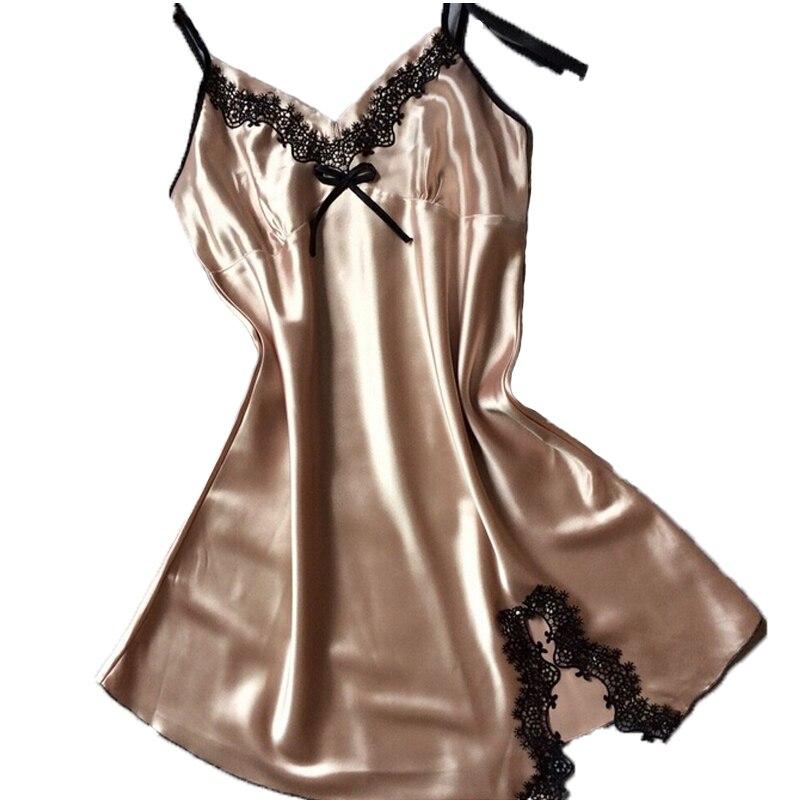 Womens Sexy Silk Satin   Nightgowns   V neck Spaghetti Strap Nightdress   Sleepshirts   Ladies Night Dresses Sleepwear home clothes
