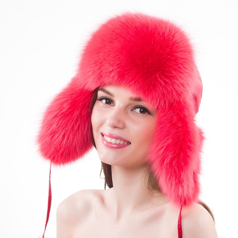 New Style Lady Real Fox Fur Hat 100% Natural Soft Genuine Fox Fur Cap Women Fashion Casual Warm Real Fox Fur Caps