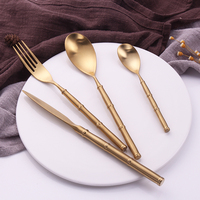 Drop Shipping 304 Stainless Steel Western Bamboo Cutlery Set 4 Pcs/set Gold Dinnerware Knife Kitchen Food Tableware Dinner Set