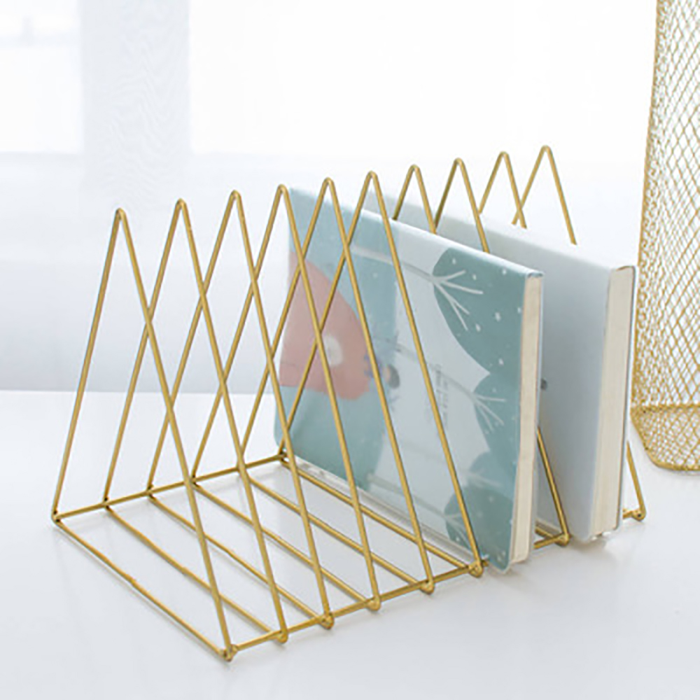Triangle Wrought Iron Gold Vintage Desktop Storage Rack New Office Desk Bookshelf Magazine File Organizer Holder