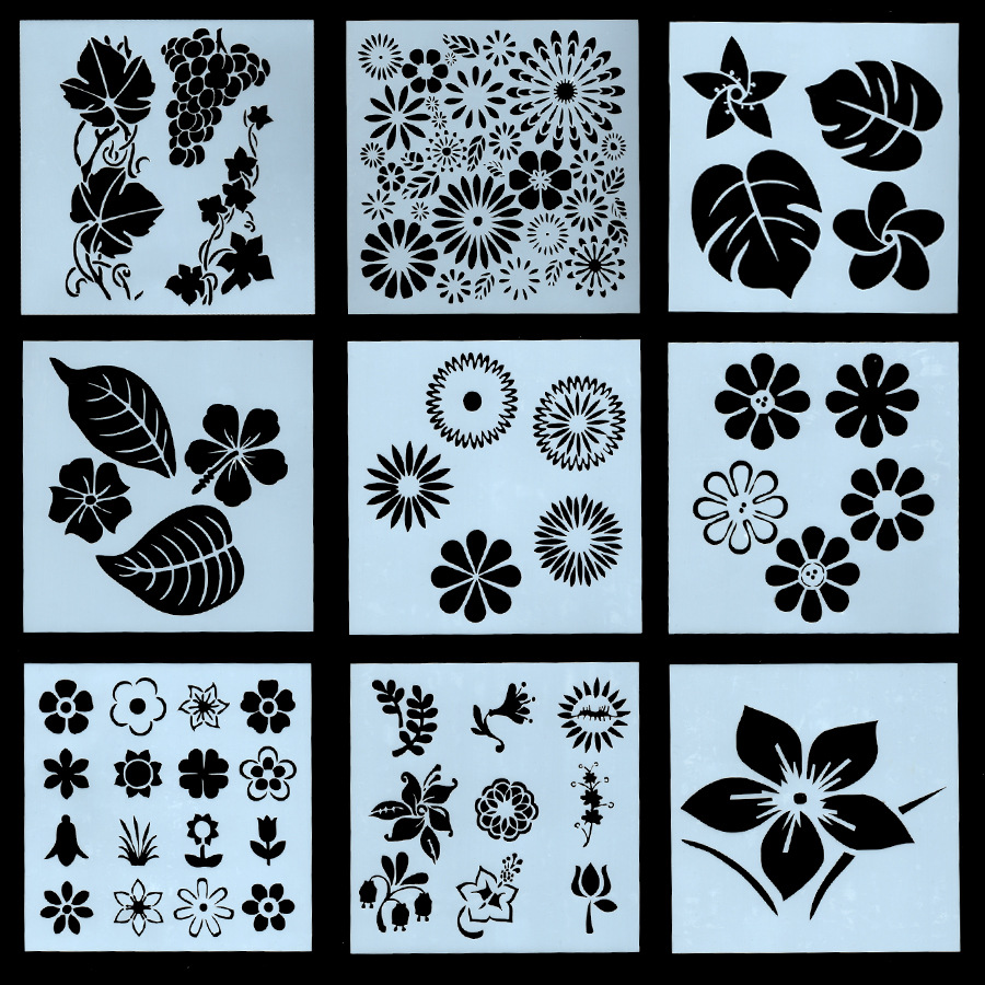 9Pcs/Set 13cm Flower Leaves DIY Craft Layering Stencils Painting Scrapbooking Stamping Embossing Album Paper Card Template