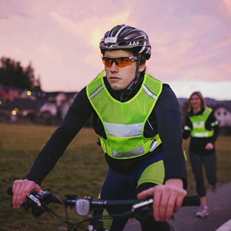 Reflective Safety Night Jacket Cycling Running Coat HiVis Illuminate Bike Jersey