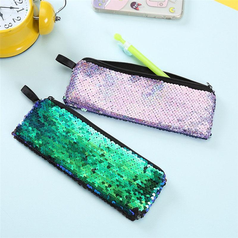 Damentaschen Abendtaschen Hch-diy Doppel Farbe Pailletten Glitter Handtasche Bleistift Fall Tasche Make-up Tasche weiß