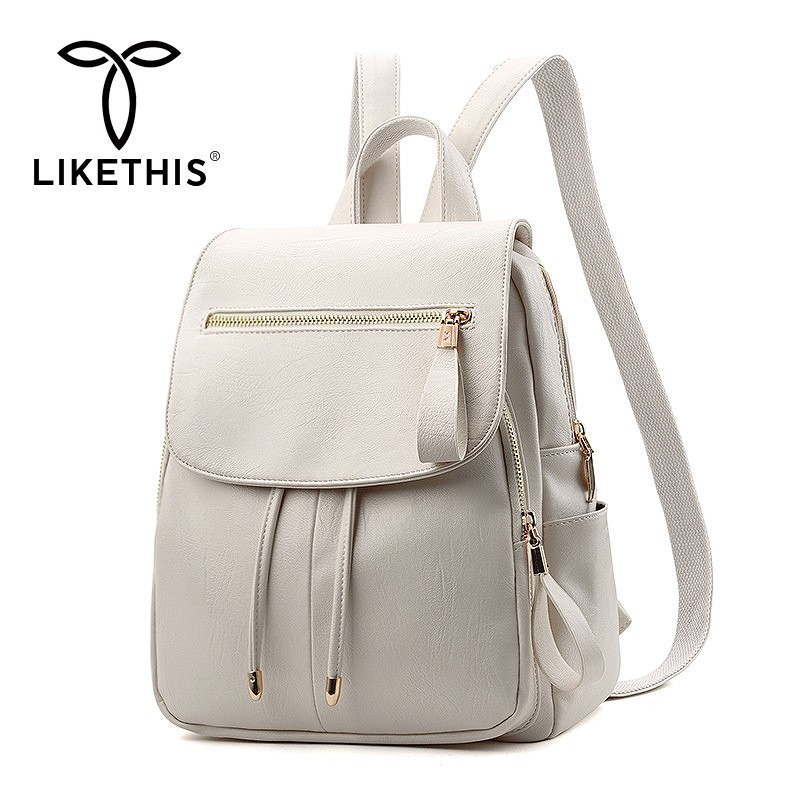 LIKETHIS Backpack In Women's Casual PU Leather Knapsack Travel Mochila Escolar Masculina Backpack Zainetto Donna Lady Solid New(China)
