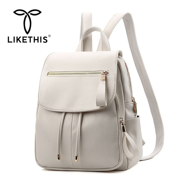 LIKETHIS Backpack In Women's Casual PU Leather Knapsack Travel Mochila Escolar Masculina Backpack Zainetto Donna Lady Solid New
