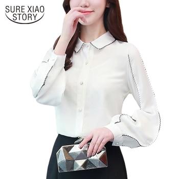 f78daa597 2018 nova primavera manga comprida blusas moda feminina tops senhora do  escritório estilo elegante slim camisas chiffon mulheres roupas 30 d380