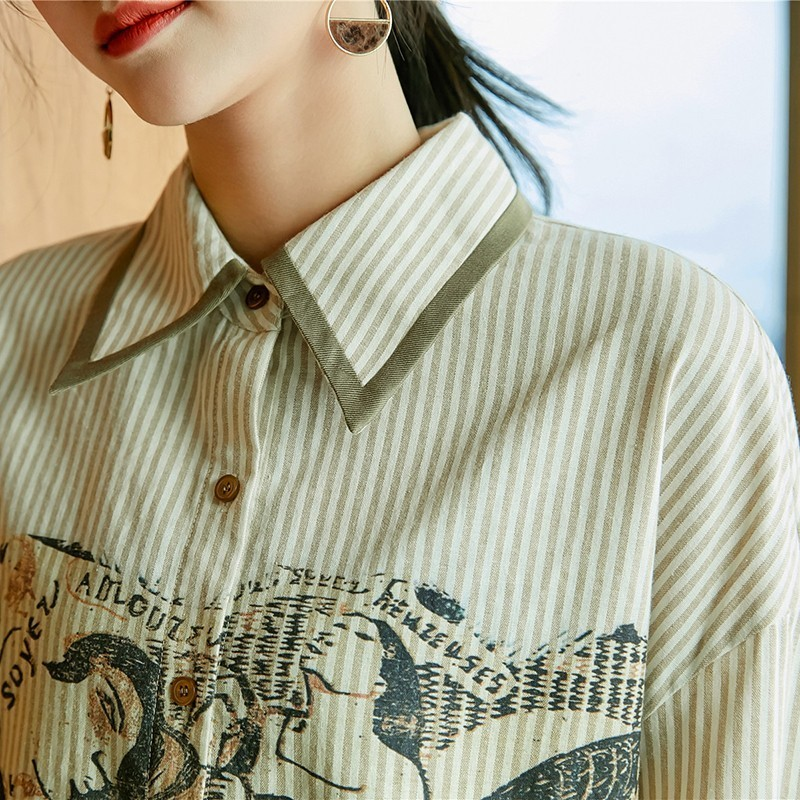 Rayas 2019 De Twotwinstyle Las Asimétrica Moda As Tops Blusa Picture Print Casuales Camisas Patchwork A Larga Mujeres Nuevo Mujer Colores Manga Tx5x0r