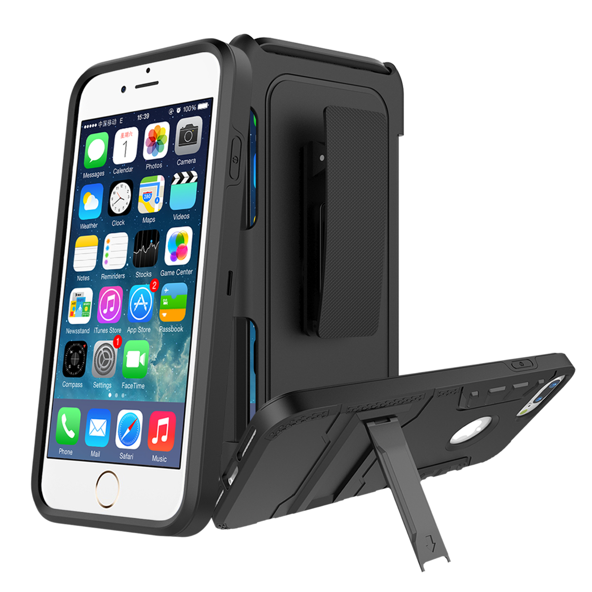 For iPhone 7 Plus Case Shockproof Heavy Duty 3 in 1 TPU+Hard PC Hybrid 360 Armor Cover For iPhone 8 Plus Case Stand Belt Clip