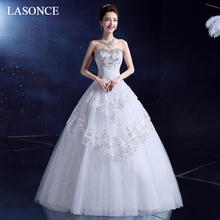 LASONCE Tiered Lace Appliques Ball Gown Wedding Dresses Crystal Strapless Off The Shoulder Backless Bridal Dress frill off shoulder lace overlay tiered dress