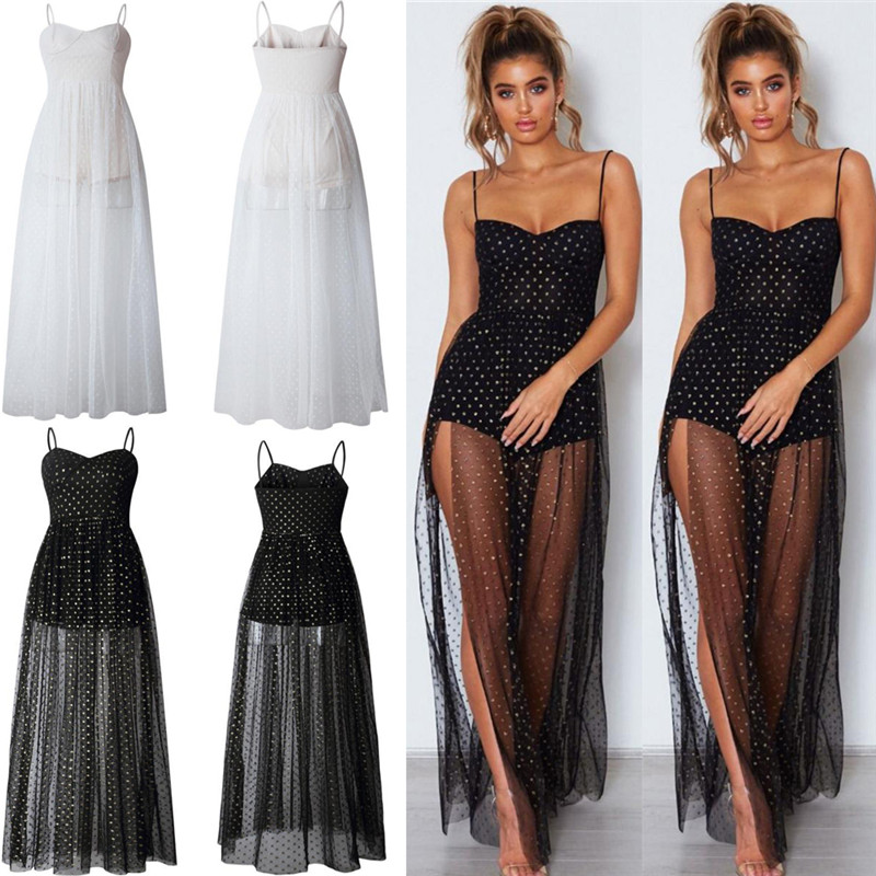 Summer Women 39 s Bohemian Long Dress Women 39 s Evening Gown Party Beach Perspective Tulle Dress in Dresses from Women 39 s Clothing