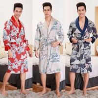 Spring Summer Long Sleeve Man Bathrobe Long Pajamas Cardigan Homewear Japanese Kimono Yukata Nightgown Sleepwear Bathrobe Causal