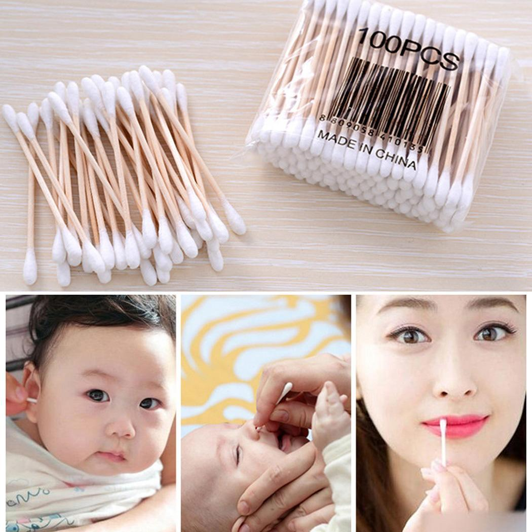New Wooden Stick Cotton Swabs Double Pack Of Tipped With Finest Quality Cotton Heads White