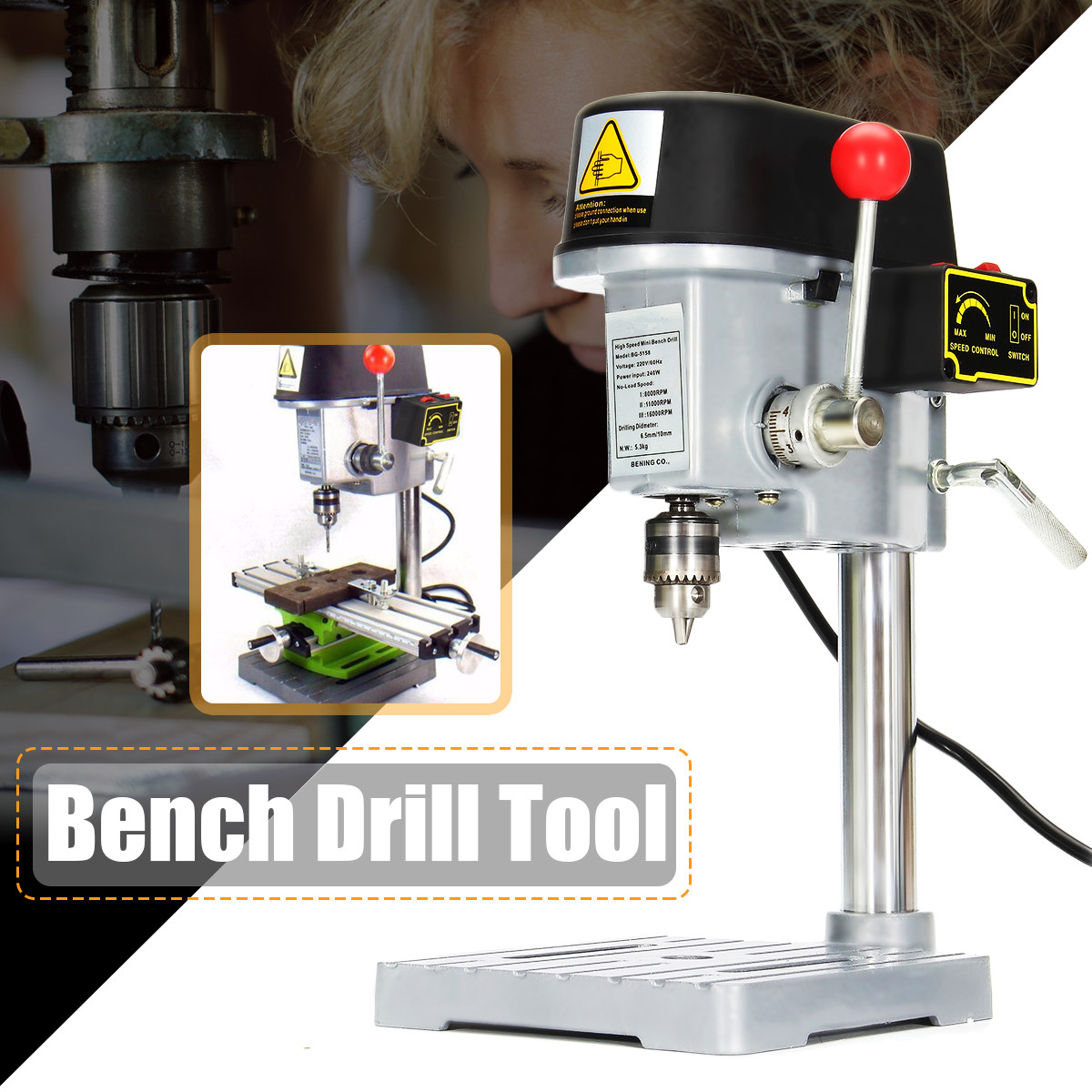 Mini Drill Press 240W for Bench Drilling Machine Variable Speed Drilling Chuck 0.6-6.5mm For DIY Wood Metal Electric ToolsMini Drill Press 240W for Bench Drilling Machine Variable Speed Drilling Chuck 0.6-6.5mm For DIY Wood Metal Electric Tools