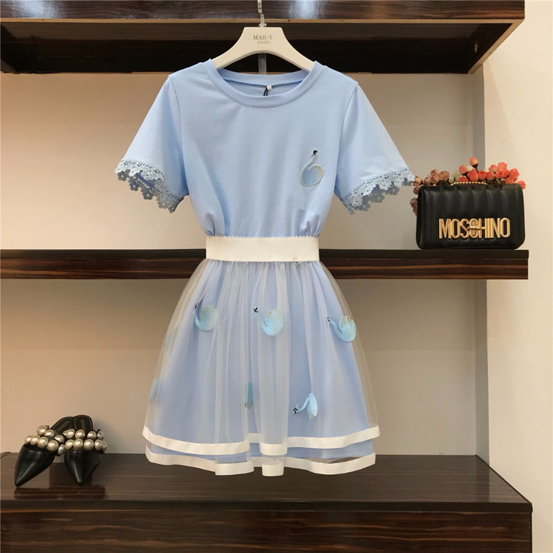 2019 Summer Women Sets Fashion Swan Embroidery Lace Short Sleeve Long T-shirts+see Through Mesh Short Skirts Students Girls Suit