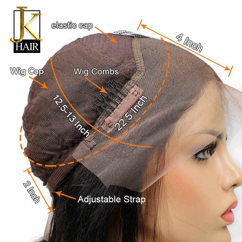 Длинные прямые человеческие волосы на кружеве парик для черных женщин предварительно сорвал натуральные Детские Волосы бразильские волосы remy отбеленные узлы JK
