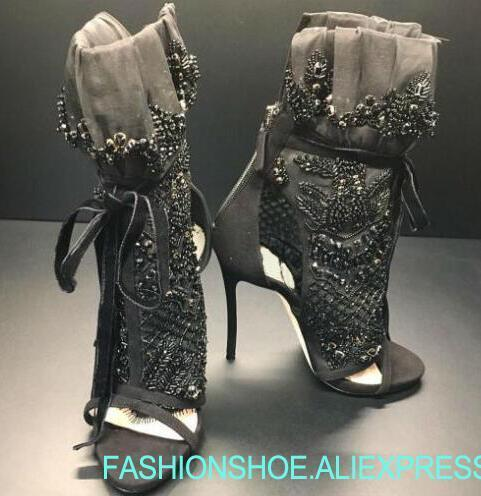 2019 Elegant Black Lace Women Peep Toe Ankle Boots Ankle Bandage Boots Luxury Black Crystal Cover Ladies Lace Up High Heel Boots2019 Elegant Black Lace Women Peep Toe Ankle Boots Ankle Bandage Boots Luxury Black Crystal Cover Ladies Lace Up High Heel Boots