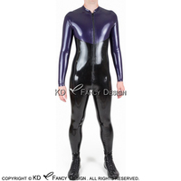 Black With Purple Sexy Latex Catsuit With Front To Back Crotch Zipper Stand Collar Rubber Bodysuit Zentai Overall LTY 0264