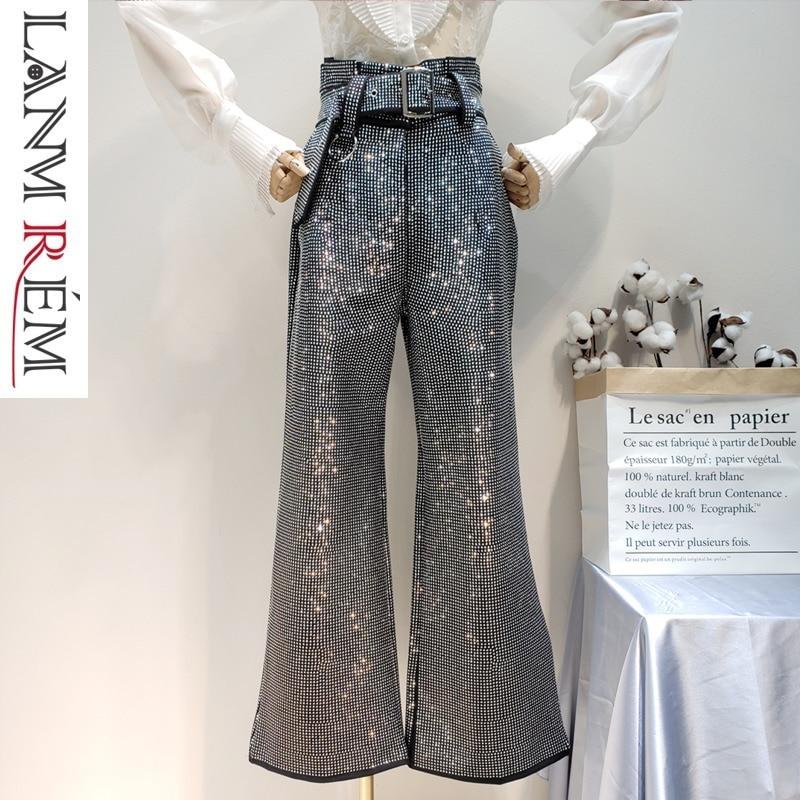 LANMREM 2018 New Fashion Rhinestone High Waist Lace Elastic Cotton Loose Wide Leg Pants Black Trousers
