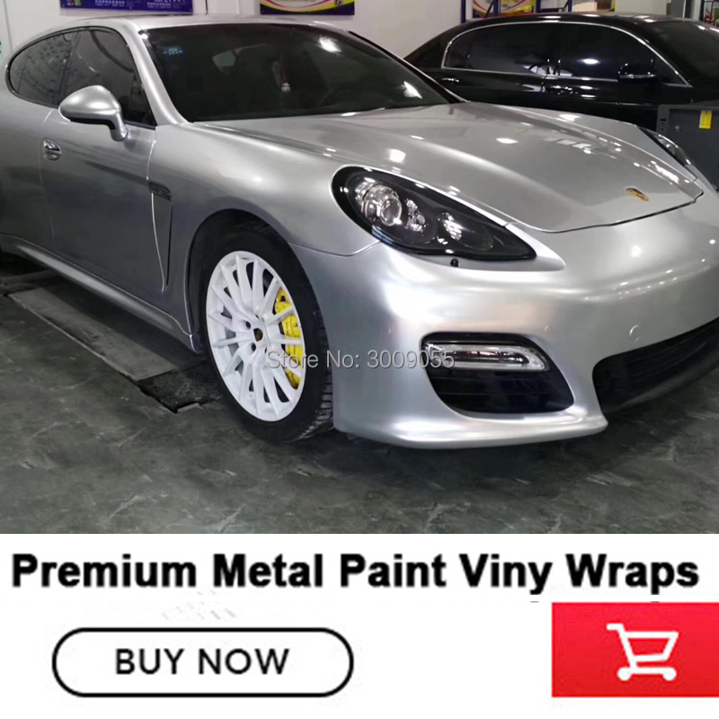 Highest quality series Gloss metallic vinyl silver Metal paint wrapping film solvent based low initial tack