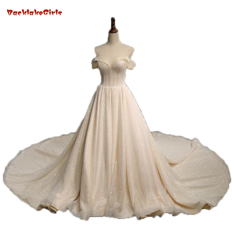 Off The Shoulder Sweetheart Pleated Lace Up Ball Gown  Princess Bridal Wedding Gowns 2018 Bling Bling Shiny Vestidos De Novias
