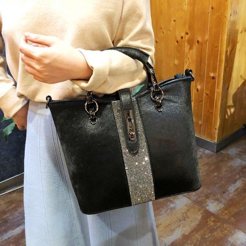 Horse Hair Rhinestone Woman Handbag Genuine Leather Totes Diamond Shoulder Bag Anti theft Lock Buckle Winter