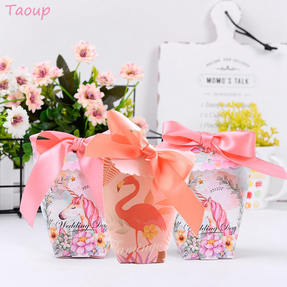 Taoup 6pcs Paper Pink Flamingo Gift Boxes Unicorn Birthday Party Unicorn Decor Supplies Candy Boxes Wedding Gift Unicornio Horn in Gift Bags Wrapping Supplies from Home Garden