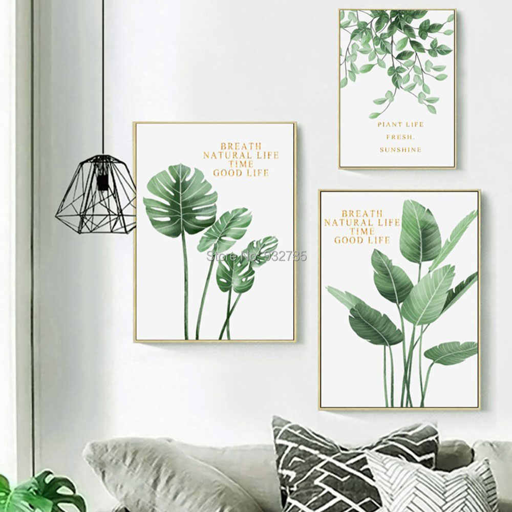 3 Piece/set Plant Leaves Poster HD Print Landscape Wall Art Canvas Painting Picture for Living Room Home Decor  Decorat No Frame