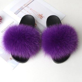 Home Slippers Women Fox Fur Slides Furry Female Indoor Slippers Furry Summer Shoes Woman Sandals Flat Brand Luxury Plus Size Eva 3