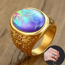 Stunning BIG Opal Rings for Men Golden Stainless Steel Tiger's Eye Oval Stone Men's Jewellery