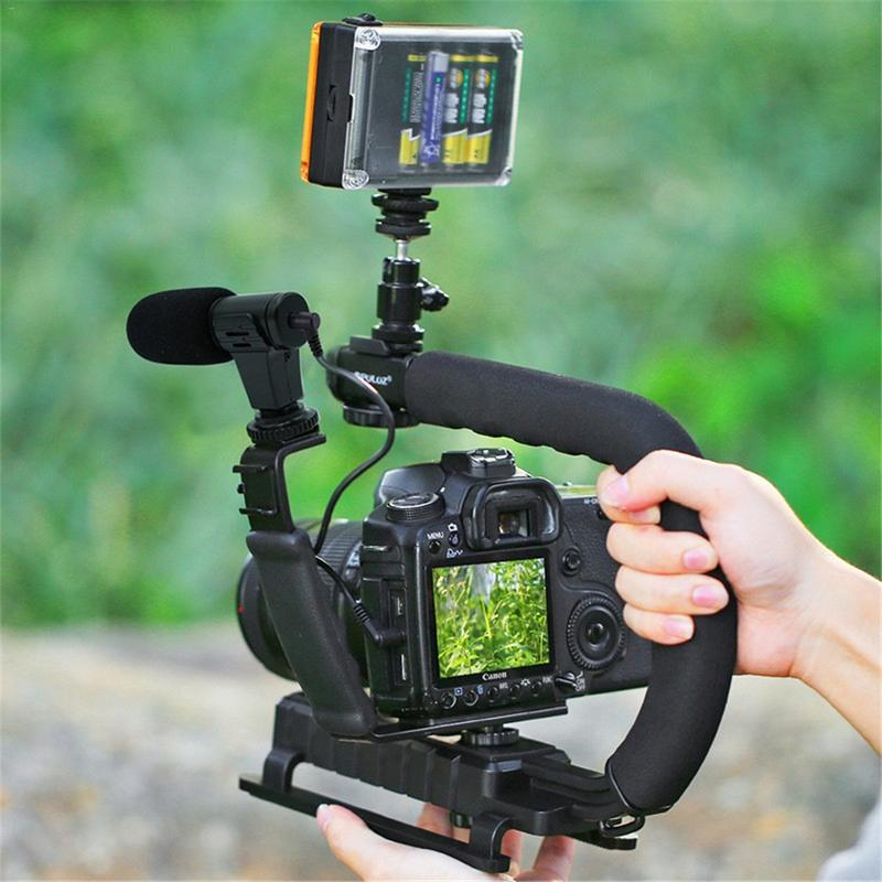 U Type Handheld Stabilizer with Microphone L Bracket Fill Light Low Angle Shooting with Accessory Shoe for Camcorder Camera DV