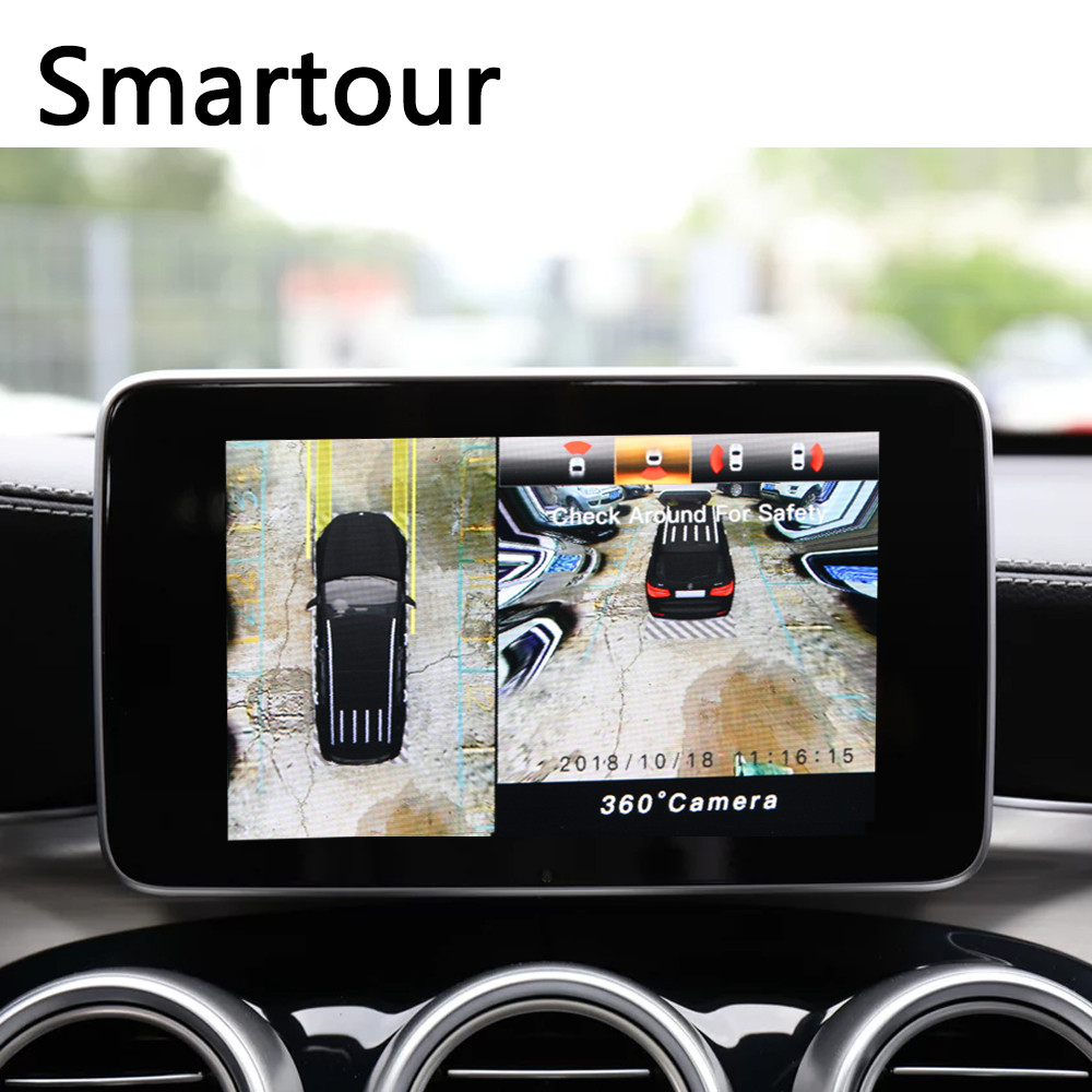 Smartour 3D HD Surround View Monitoring System 360 Degree Driving Bird View Panorama Car Cameras 4-CH DVR Recorder with G sensor bird view system hd 3d 360 degree surround view system 4 car camera multi angle adjustable metal car camera 1080p dvr g sensor