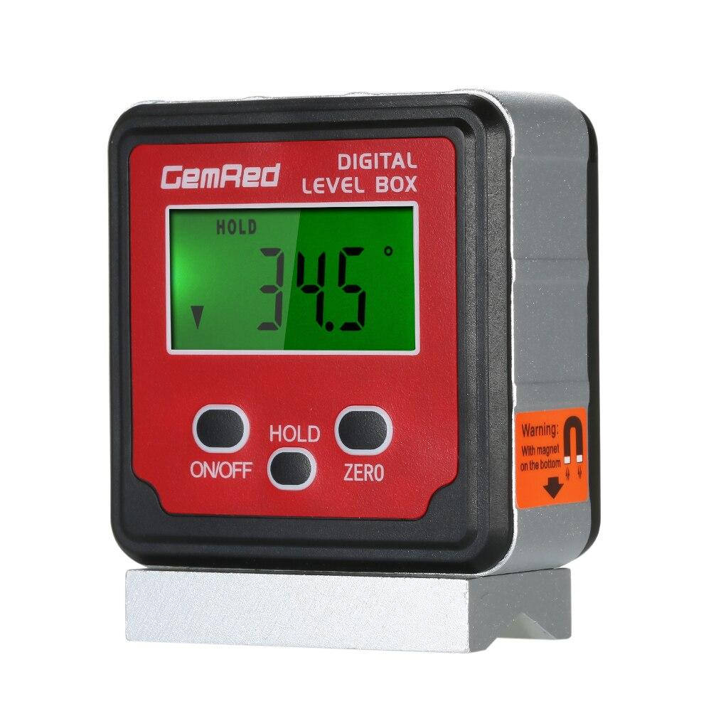GemRed, caja de nivel de 2 botones, medidor de ángulo Digital, inclinómetro, medidor de nivel, Base magnética con pantalla de retroiluminación