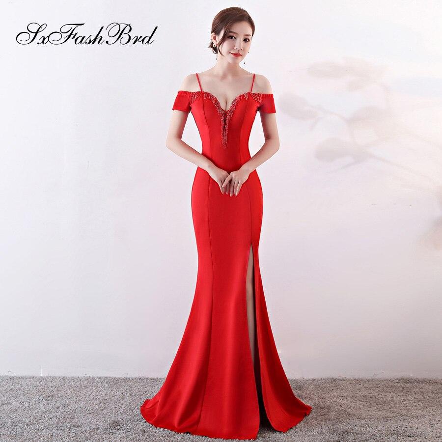 Vestido De Noche Simple Vestidos Largos Spaghetti Strap Beading Sweetheart Mermaid Split Long Party Women Evening Dresses